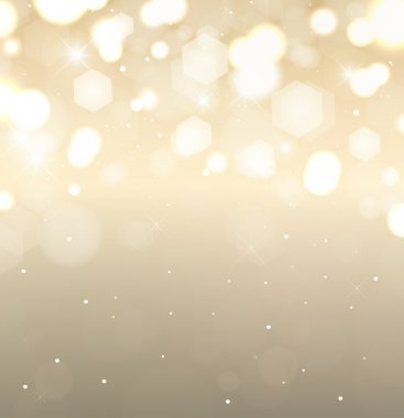 Golden holiday background. Flickering lights with stars