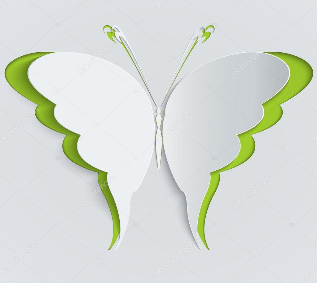 Paper butterfly. Decoration, greeting card