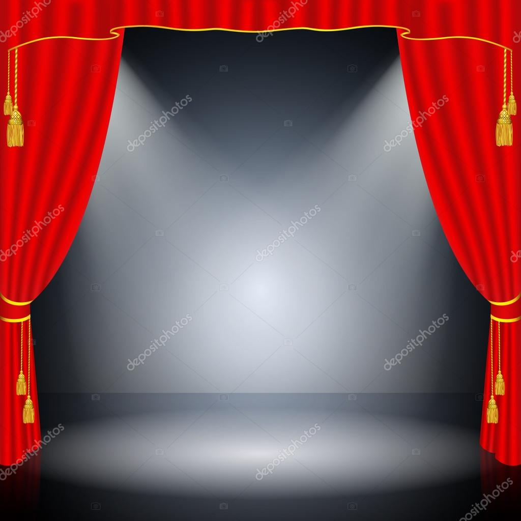 Red Curtain On Black Background U2014 Stock Vector #36727661