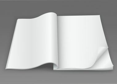 White blank open magazine on a dark background
