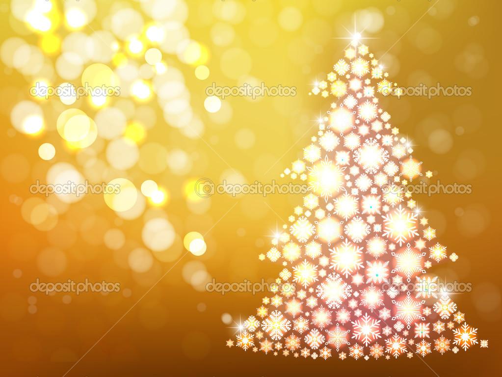 Fundo Dourado Com árvore De Natal Cartão De Ano Novo De Desfocagem