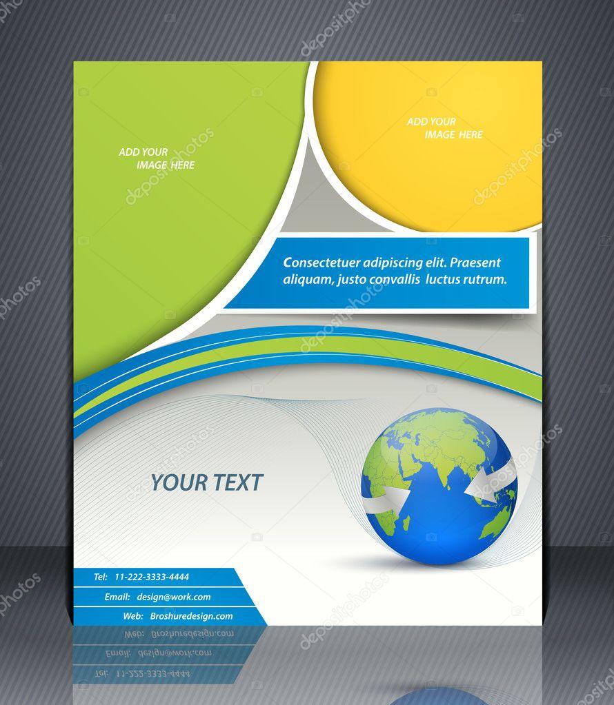flyer de negocios de diseño vectorial con world map, portada de la ...