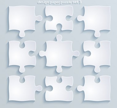Parts of colorful puzzles. Set of 8, 4, 10 vector pieces
