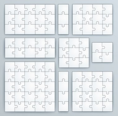 Jigsaw Puzzle Templates. Set of puzzle 15, 3, 12, 10, 9, 4, 16, 25 pieces