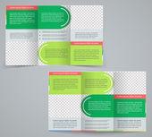 trojkombinace obchodní brožura šablona, vektorové zelený design leták