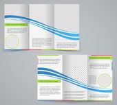 trojkombinace obchodní brožura šablona, vektorové modrý design leták wi