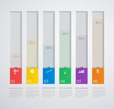 Infographics template with stepwise structure, 3d columns of gro