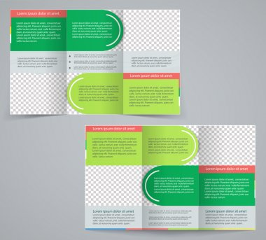 Tri-fold business brochure template, vector green design flyer