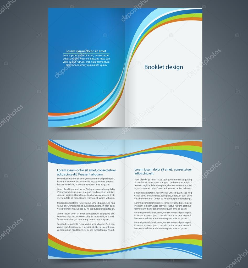 blue bifold brochure template design business leaflet booklet