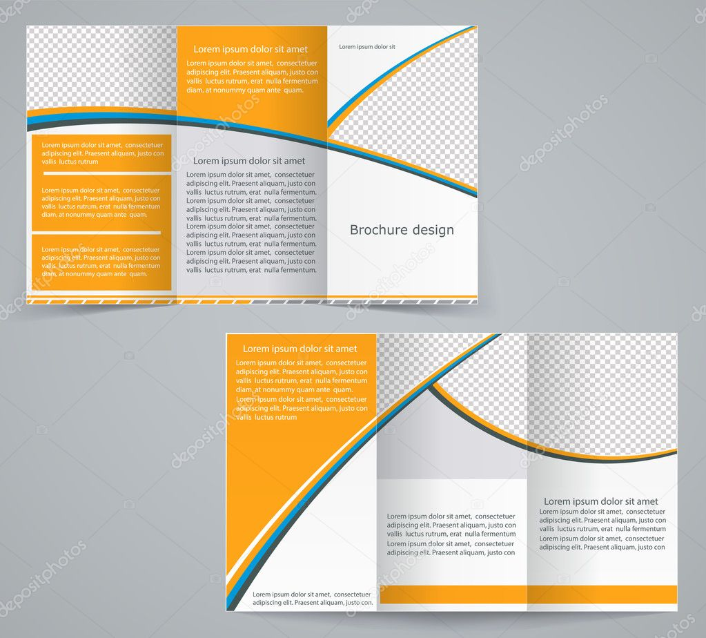 Trifold Business Brochure Template Vector Orange Design Flyer - Tri fold business brochure template