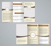 trojkombinace obchodní brožura šablona, vektorové hnědá kresba leták