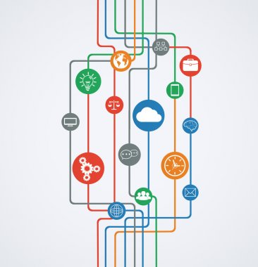 Network connections, information flow with icons.