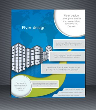 Blue business flyer or brochure. Design template with the city a