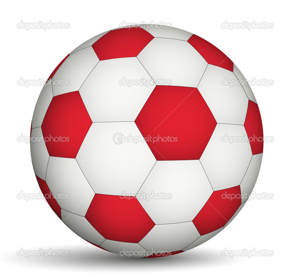 fútbol balón rojo-de color blanco — Vector de stock © Ramcreative ... 5b268a5386f68