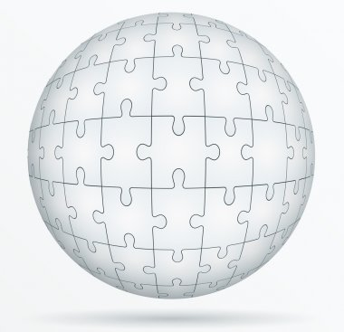 Puzzle world in the form a sphere.