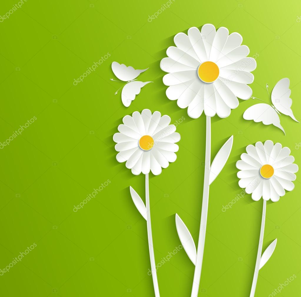 Summer flowers with butterflies on a bright green background