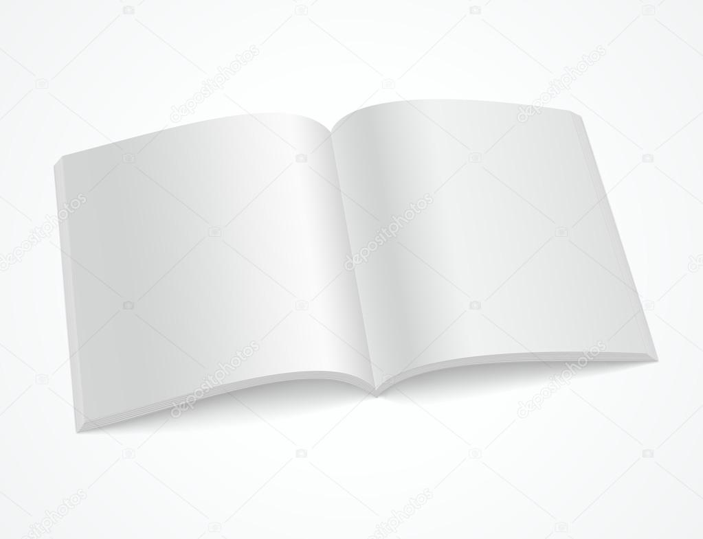 Open blank brochure or magazine on white background