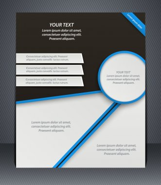 Vector layout business flyer, magazine cover, or corporate design template advertisment, blue color. stock vector