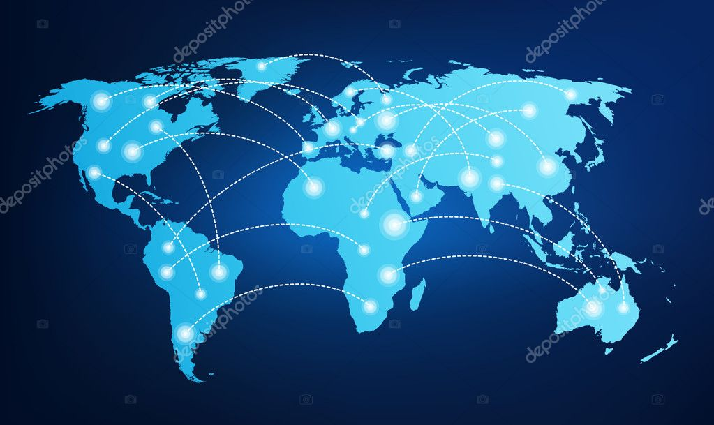 World map with global connections