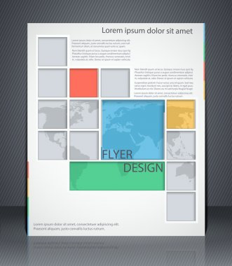 Vector layout business flyer with map, magazine cover, or corpor