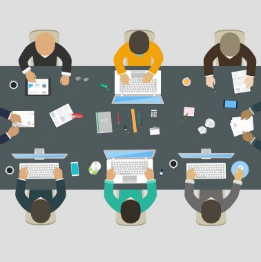Group of business people working for office desk. New  idea of c