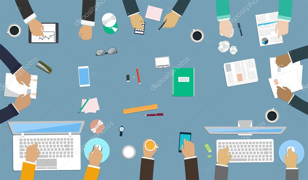 Teamwork for office desk. Interaction hands in the work. Business strategy, new  idea of company, financial strategy