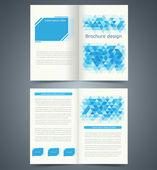 geometriai kék bifold brosúra sablon design, üzleti szórólap
