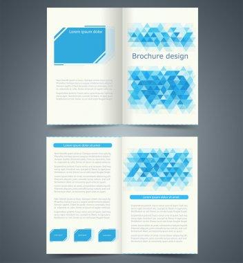 Geometric Blue bifold brochure template design, business leaflet