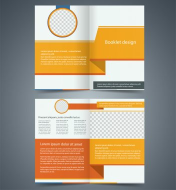 Yellow bifold brochure template design, business leaflet, bookle