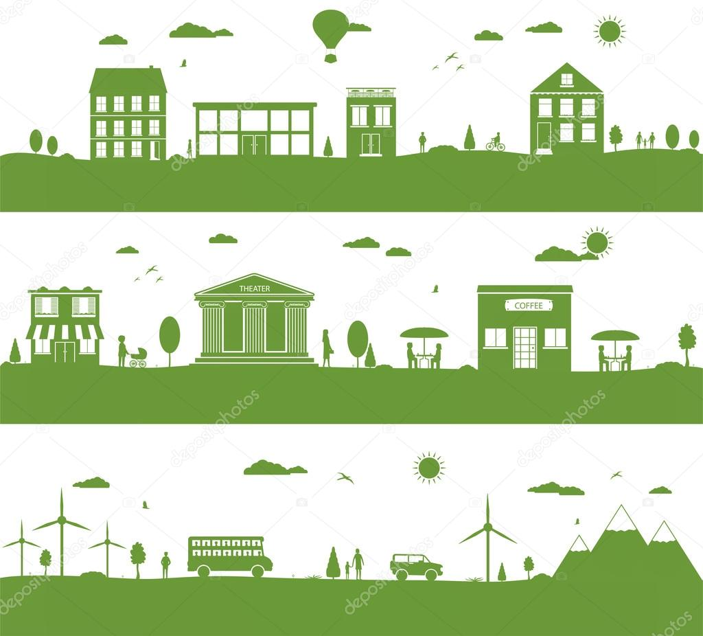 City with cartoon houses, green eco panorama.