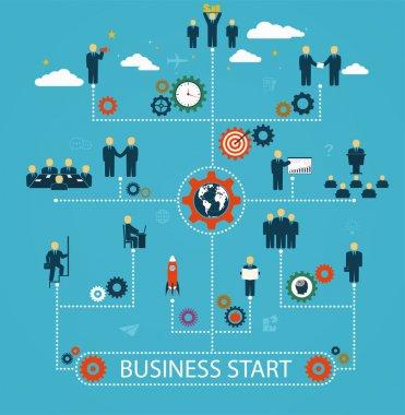 Business start, workforce, team working, business people in moti