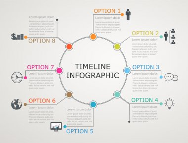 Circular timeline, infographics template with stepwise structure