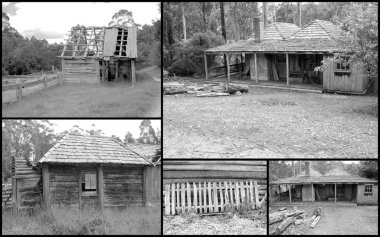Black and white montage of run down early pioneer settlers homestead