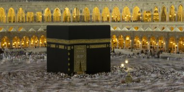 Pilgrims circumambulate the Kaaba at Masjidil Haram in Makkah, Saudi Arabia. Muslims all around the world face the Kaaba during prayer time.