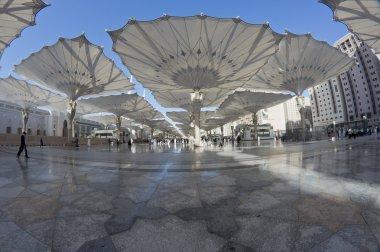 Fisheye view of giant canopies at Masjid Nabawi compound in Medina, Kingdom of Saudi Arabia