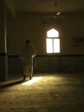 A muslim prays in one of the mosques in Saudi Arabia.