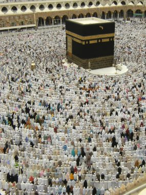 Muslims get ready to pray at Haram Mosque, Saudi Arabia.