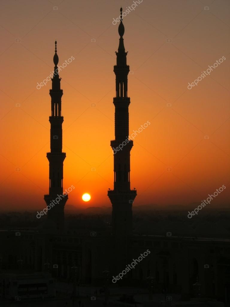 silhouette of minarets of nabawi mosque, medina, saudi arabia