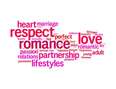Respect, love, romance info text graphics and arrangement concept