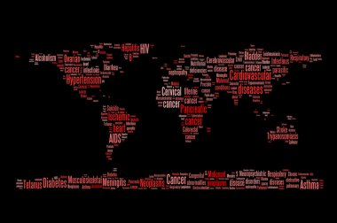 World diseases and sickness info text graphics and arrangement word clouds planet earth concept