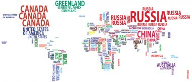 World map, countries, continents, nations vector