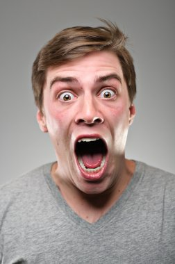 Caucasian Man Wide Mouthed Scream Portrtait
