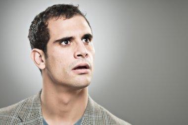 Caucasian Man Worried Expression Portrtait