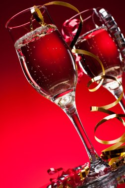 Red New Years Champagne Celebration