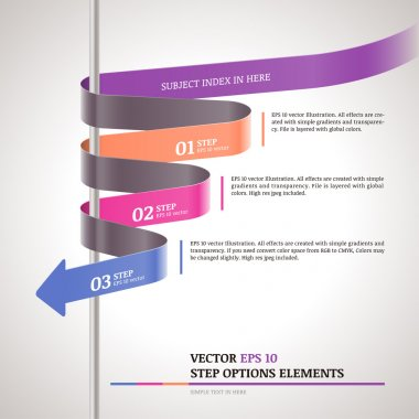Modern zigzag infographic, steps paper strip template