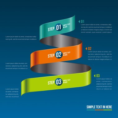 Steps paper strip template. Vector option infographic.