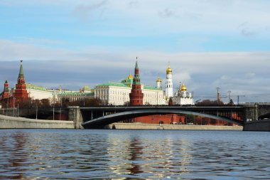 Moscow Kremlin and a large stone bridge, Russia