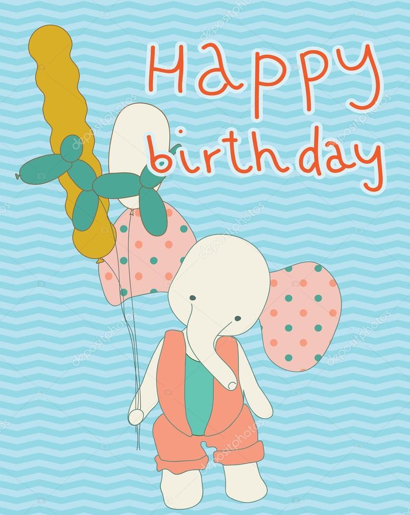 barn grattiskort barn söt grattiskort med elefant och ballonger. ballong djur och  barn grattiskort