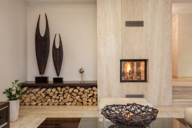 Travertine house: Modern living room