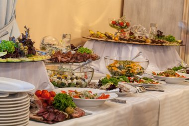 Buffet with different appetizers
